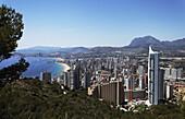 View over the city with sea, Costa Blanca, Benidorm, Province Alicante, Spain