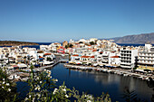 View over port, Voulismeni Lake, Agios Nikolaos, Lasithi, Crete, Greece