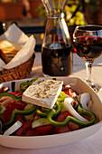 Greek salad with Feta cheese, Prefecture Lasithi, Crete, Greece