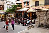 Pavement cafe, old town, Rethymnon, Crete, Greece
