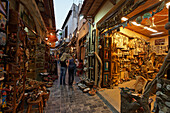 Shopping street in old town, Rethymnon, Crete, Greece