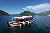 Excursion boat in the bay of Kotor, Perast, Montenegro, Europe