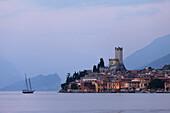 Evening mood, Scaliger Castle, Malcesine, Lake Garda, Veneto, Italy