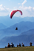 Paraglider, Monte Baldo, Malcesine, Lake Garda, Veneto, Italy