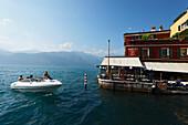 Boat, Restaurant, Malcesine, Lake Garda, Veneto, Italy
