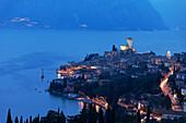 Panorama, Evening mood, Scaliger Castle, Malcesine, Lake Garda, Veneto, Italy