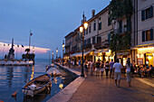 Promenade, entrance to Harbor, Lazise, Lake Garda, Veneto, Italy
