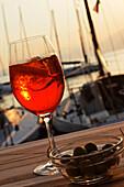 Harbor, Aperol Sprizz, Torri del Benaco, Lake Garda, Veneto, Italy