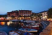 Restaurants, Harbor, Torri del Benaco, Lake Garda, Veneto, Italy