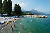 People on the beach, Toscolano-Maderno, Lake Garda, Lombardy, Italy