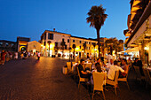 Restaurant Square, Evening mood, Sirmione, Lake Garda, Veneto, Italy