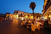 Restaurant Square, Evening mood, Sirmione, Lake Garda, Veneto, Italy
