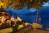 Restaurants, evening mood, Varenna, Lake Como, Lombardy, Italy