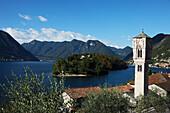 bell tower of the Church of Santa Maria Maddalena ,Ossuccio, Lago di Como, Lombardei, Italien
