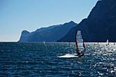 Windsurfer nearby Torbole, Lake Garda, Trento, Italy