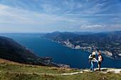 Panorama, Wanderer, Couple, Monte Baldo, Malcesine, Lake Garda, Veneto, Italy