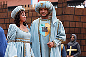 Couple, Procession in traditional costumes, Palio, Alba, Langhe, Piedmont, Italy