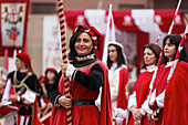Standard bearer, Procession in traditional costumes, Palio, Alba, Langhe, Piedmont, Italy