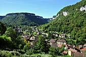 The village of Baume-les-Messieurs in a valley, Jura, Franche Comté, Eastern France, Europe