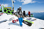 Snowboarder, Cafe No Name, Flims Laax Falera ski area, Grisons, Switzerland