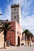 Clock Tower and Street Scene in the Medina, Essaouira, Morocco, North Africa