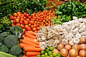 Vegetables for sale at the Fresh Produce Market, Luang Prabang, Laos, South East Asia