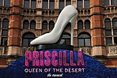 Priscilla Queen of the Desert musical sign at the Palace Theatre, Cambridge Circus, London, England, UK