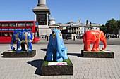 Elephant Parade London 2010 sculptures in aid of elephant conservation at Trafalgar Square, London England UK