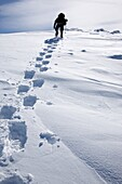 A winter hiker ascends the Air Line Trail in extreme weather conditions during the winter months in the White Mountains, New Hampshire USA