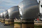 Close-up view of the Thames Barrier flood protection, London, England