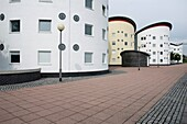 The University of East London UEL Docklands Campus residence halls next to the Royal Albert Dock, London, England