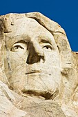 Close up view of Thomas Jefferson at Mount Rushmore National Memorial