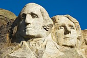 Close up view of George Washington and Thomas Jefferson at Mount Rushmore National Memorial