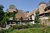 Petit Champlain district with Chateau Frontenac background, Quebec city, Province of Quebec, Canada, North America