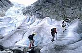Tourists climb up Nigardsbreen glacier National Park of Jostedalbreen Norway