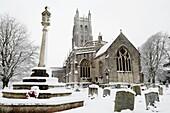 Wrington All Saints Church in the snow Wrington Somerset, England, United Kingdom