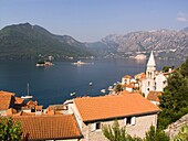 europe, montenegro, perast with the island of our lady of the rock and st george island