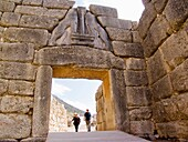 europe, greece, peloponnese, ancient mycenae, archaeological area, gate of the lions