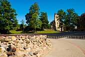 Stage next to castle ruins in Sigulda Latvia Europe