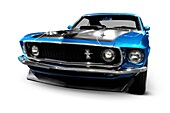 Blue Ford Mustang 1969 muscular sports car closeup Isolated with clipping path on white background