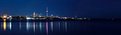 Beautiful atmospheric panoramic view of a Toronto cityscape reflecting in lake Ontario water at night Toronto Ontario Canada
