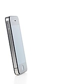 Apple iPhone 4 smartphone side view isolated with clipping path on white background High quality photo
