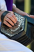 close up of a musician's hand playing a concertina to accompany morris dancing at the Oxford Folk Festival