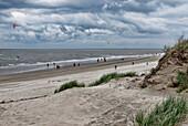 Windy day on the beach, Westdorf, North Sea Island of Baltrum, East Frisia, Lower Saxony, Germany