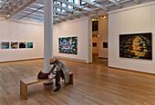 Female tourist in Henri Nannens Art Gallery, Emden, East Frisia, Lower Saxony, Germany