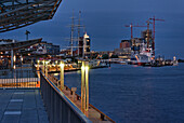 Jetties with view of the HafenCity, Hamburg, Germany
