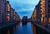 Warehouse district, Speicherstadt at night, Hamburg, Germany