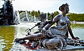 Fountain at the Herrenchiemsee, Chiemsee, Chiemgau, Upper Bavaria, Bavaria, Germany
