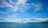 Sailboat at the Chiemsee with Kampenwand in the background, Chiemsee, Chiemgau, Upper Bavaria, Bavaria, Germany
