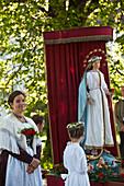 Marienfigur, Fronleichnamsprozession, Benediktbeuern, Alpenvorland, Oberbayern, Bayern, Deutschland